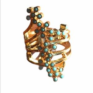 Skinny/Jessica Elliot Gold Tone and Teal Ring